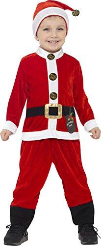 Smiffy's 21488S - Kinder Jungen Weihnachtsmann Kostüm, Alter: 4-6 Jahre, One Size, rot/weiß