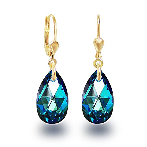 Schöner-SD, Vergoldete Ohrringe Ohrhänger Gold Doublé mit kleinen Swarovski Kristall Tropfen blau 16mm