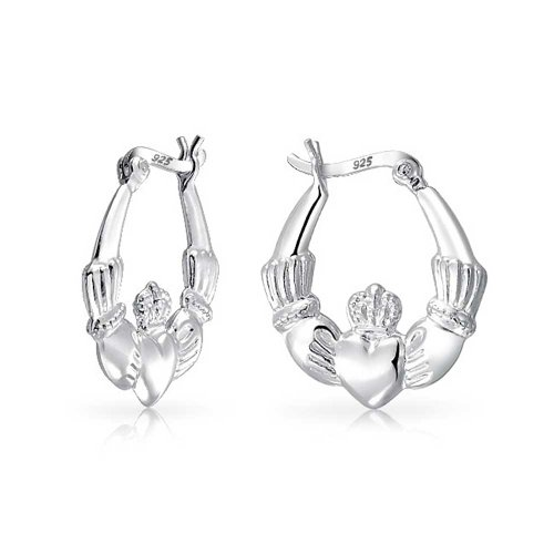 Bff Love Celtic Irish Friendship Claddagh Hoop Earrings For Women For Teen 925 Sterling Silver .75 Dia - Womens Celtic Schmuck