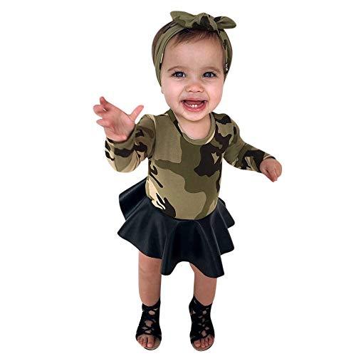 Bestow Vestido de Mosaico Estampado de Camuflaje para niños Falda Princesa + Banda para el Cabello de Dos Piezas Trajes Ropa(Verde,6T)
