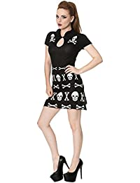 Banned Skull Knitted Robe Tricot Courte Gothique Imprimé Tête De Mort (Black)