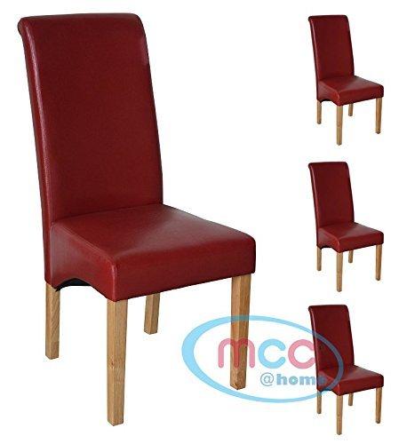 Esszimmerstuehle im 4er Set von MCC aus Kunstleder, Deluxe, hohe Rueckenlehne, fuer private und gewerbliche Nutzung, [SCHWARZ* ROT* BEIGE* BRAUN*] ROT