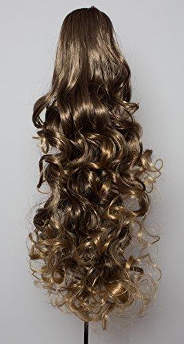 Elegant Hair - 56 cm / 22 pouces queue de cheval frisé – Brun moyen/bouts blondes - Clip-in pièce de extensions de cheveux réversible - Avec griffe-clip - 30 Couleurs - 250g