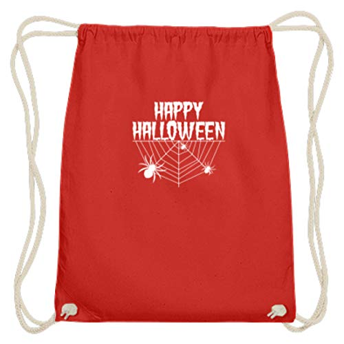 y Halloween - Spinnennetz und Spinne - Baumwoll Gymsac -37cm-46cm-Hellrot ()
