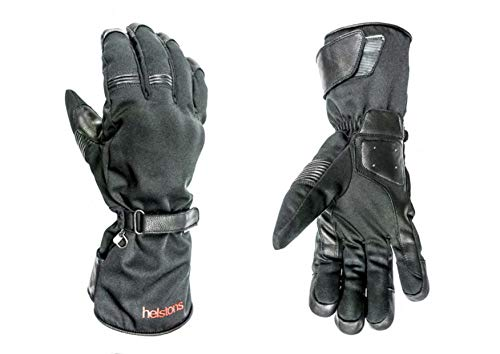 HELSTONS Challenger - Guanti da moto invernali elasticizzati, in pelle, T9, colore: Nero