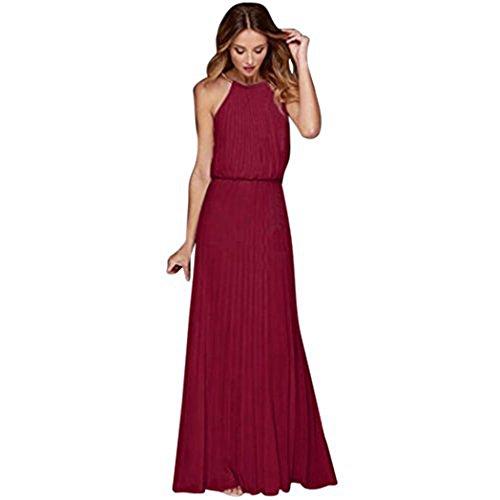 Fuibo Damen Kleid, Formaler Chiffon-Sleeveless Abschlussball-Abend-Abend-Partei-langes Maxi Kleid der Frauen   Sommerkleid Abendkleid Partykleid Cocktailkleid (S, Wein)