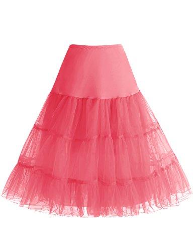bbonlinedress Organza 50s Vintage Rockabilly Petticoat Underskirt Coral XL