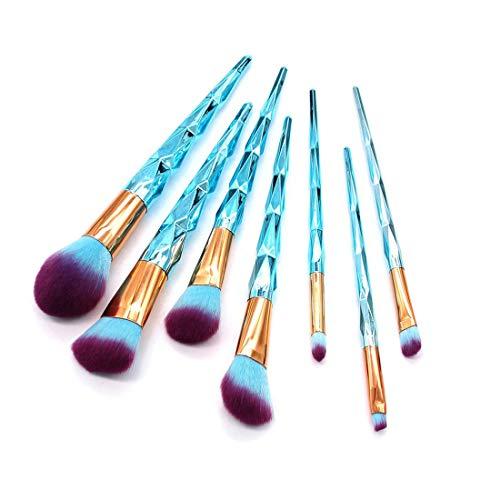 YTCWR Kosmetiktasche auf Basis von Make-up mit 7 Make-up-Pinseln (blau)