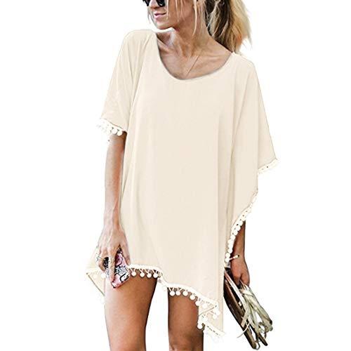 JMITHA Damen Strandponcho Sommer Strandkleid Sommerkleid Bikini Badeanzug Cover Up (One Size(XS-2XL), Beige(solid Pom))