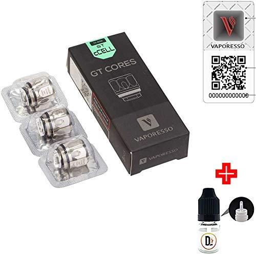 [✅100% ORIGINALPRODUKT✅] 3er Pack Verdampferköpfe VAPORESSO GT cCELL core SS316L 0.5 ohm (15-40W) coils + 1 FREI eliquid Leere Flasche 5ml DansLesVapes [OHNE NIKOTIN, OHNE Tabak] (vapoGTccell-05)