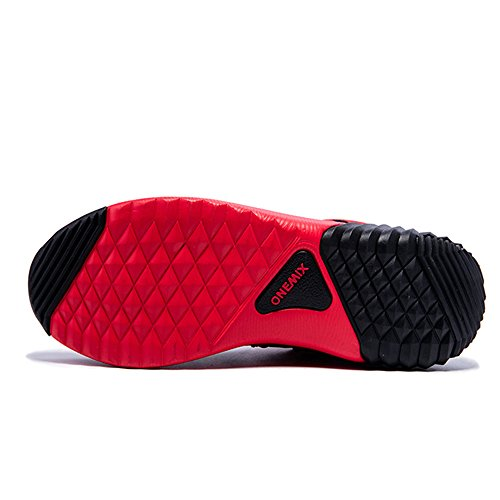 Onemix Baskets Basses Homme Chaussures de Running Entrainement Homme Ultraléger Air Red Black