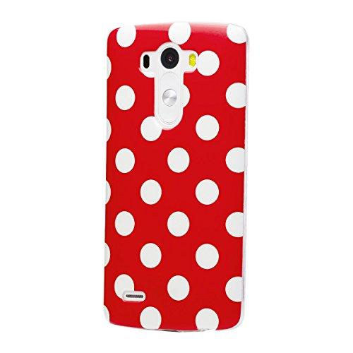 iCues LG G3 |  Polka Dots TPU Case Rot | [Display Schutzfolie Inklusive] Damen Frauen Mädchen Silikon Gel Motiv Muster Schutzhülle Hülle Cover Schutz (Lg G3 Case Für Mädchen)