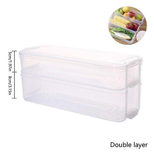 SULUO 3-lagiger Frischhalte-Kühlschrank-Aufbewahrungsbehälter aus Kunststoff in Lebensmittelqualität mit Deckel für Kühlschrank mit Gefrierfach, 2-lagig -