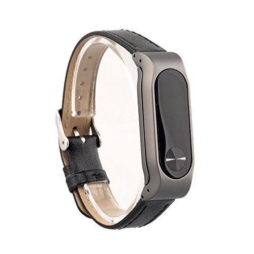 VAN+ Unisex verstellbar Leder Handgelenk Band Ersatz-Armband Strap für Xiaomi Mi Band 2 Smart Armband