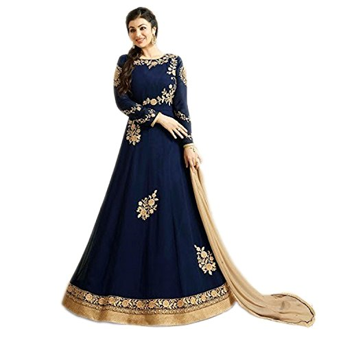 4fashion empire Ayesha Takia Georgette Blue Embroidered Long Anarkali Suit (4Fashion empireER10686_free size_Blue)  available at amazon for Rs.1849