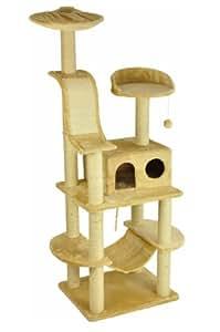 nanook Kratzbaum Niklas 1 - beige - 186 cm - mit robuster Katzenhöhle, Kratzbrett, Katzenspielzeug und Liegemulde