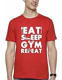 WYO Men's Cotton Causal Half Sleeve Round Neck Printed T-Shirt (Gym Repeat)