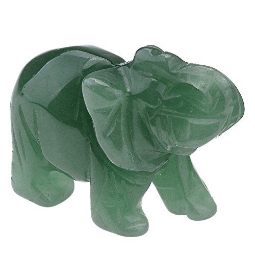Elefanten-statue Türkis (jsdde Animal Elefant Geschenke und Decor–Heilende Energie Kristall Edelstein geschnitzt Elefant Figur Statue Ornament mit Geschenk-Box, 5,1cm, Green Aventurine)