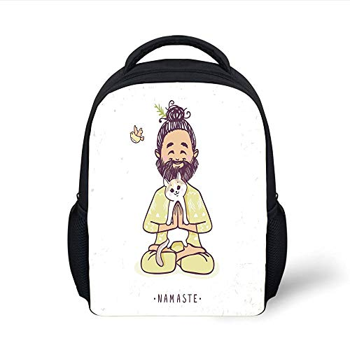 Kids School Backpack Funny,Positive Man with Cat in Yoga Greeting Pose Namaste Chakra Animal Love Design,Pale Green White Plain Bookbag Travel Daypack