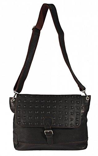 Ventosa - Leder Schultertasche Umhängetasche Leder Vintage Used-Look mit eingeschnittenen Kreuzschnitt Nieten URBAN MESSENGER BAG Damen Handtaschen 36x30x10 cm (B x H x T), Farbe:schwarz braun
