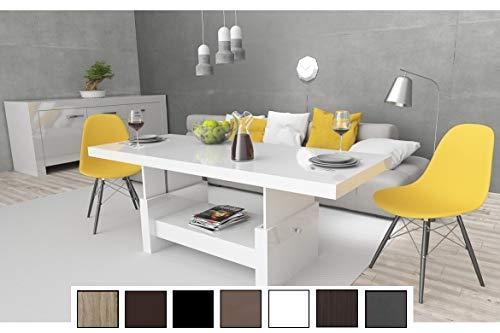 Design Couchtisch Tisch Aversa H-111 Weiß Hochglanz Schublade höhenverstellbar ausziehbar Esstisch