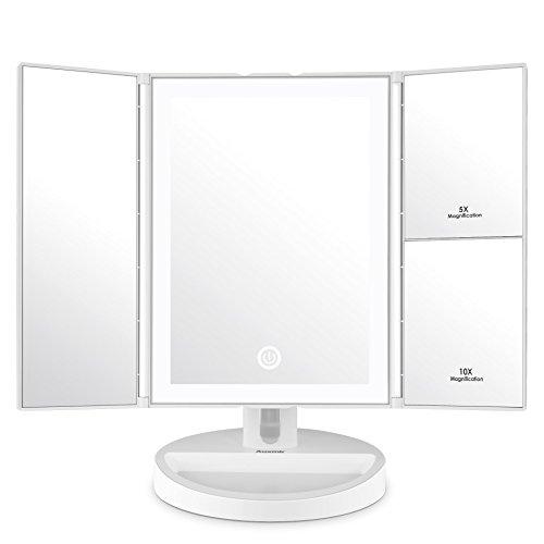 Auxmir Kosmetikspiegel mit LED Licht und 5X/ 10X-Vergrößerungsspiegel, Make-Up Schminkspiegel...