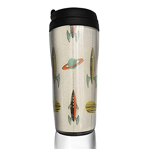 Travel Coffee Mug Retro Rockets 12 Oz Spill Proof Flip Lid Water Bottle Environmental Protection Material ABS
