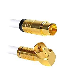 Antennenkabel | 10 Meter | Koax Stecker (gerade) auf Koax Buchse (90°) 135dB 4K UHD 5-Fach Schirmung Anschlusskabel Koaxial Kabel Kabelfernsehen TV HDTV Radio Internet Coax (10 Meter, Buchse 90°)