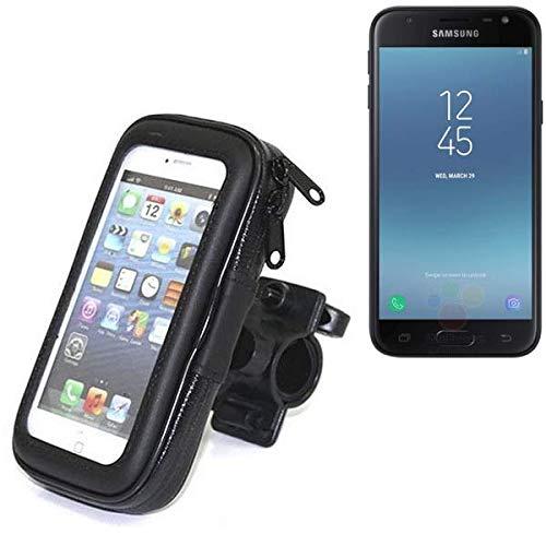 K-S-Trade Fahrradhalterung für Samsung Galaxy J3 (2017) Duos Handyhalterung Halter Lenkstange Fahrrad Halterung Motorrad Bike Mount Wasserabweisend regensicher schwarz (1x)