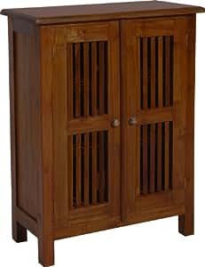 Meuble teck 2 portes persiennes cuisine maison - Meubles petites oppervlakken ...