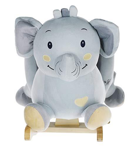 Bieco Plüsch Schaukel-Elefant Tiko, Kinder Schaukelstuhl, Sicherheitsgurt und Rückenlehne, Plüschschaukel für Babys und Kleinkinder ca. 60 x 31 x 50 cm , 74004012