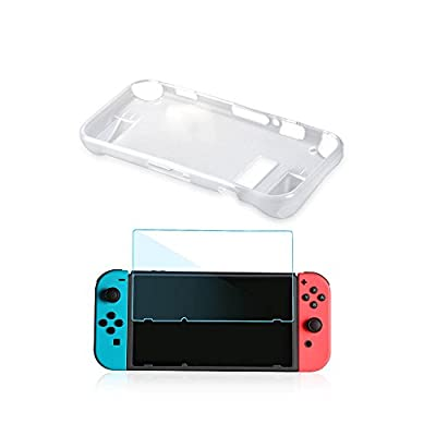 FD 2 in 1 Protective Crystal Cover Kit TPU Case with Protective Film for Nintendo Switch Cover Protective Cartoon Pattern In back Mario