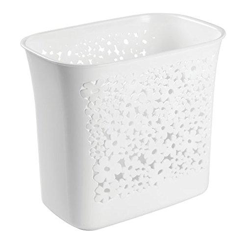 Chrom-glas-zahnbürstenhalter (InterDesign 59536EU Blumz Abfalleimer Mülleimer für Bad, Küche, Büro - weiß, Plastik, weiß, 18,29 x 29,98 x 25,65 cm)