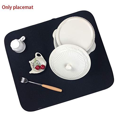 FADDR Tischset Easy Clean Wasseraufnahme Küche Zubehör Mikrofaser Multifunktions-Geschirrtrockenmatte Anti-Rutsch(Schwarz) Easy Clean Küche