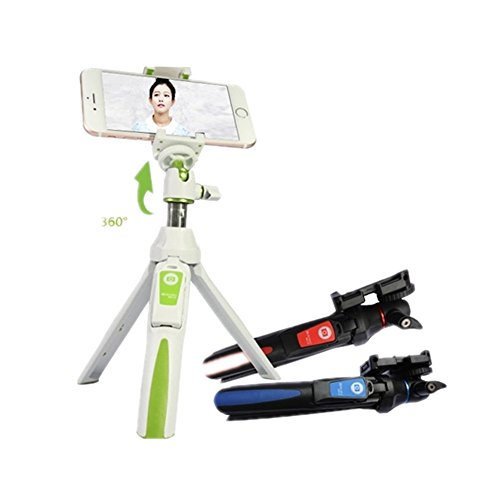 Benro Handheld Tripod 3 in 1 Self-Portrait Monopod Phone Selfie Stick Bluetooth Remote Shutter for Gopro iPhone Sumsang (White)