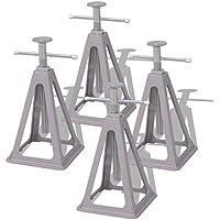 Festnight Soportes para Caravana Juego de 4 - Material de Aluminio y Acero, 158x158x(285-430) mm