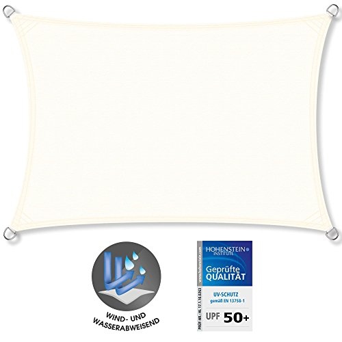CelinaSun Sonnensegel UPF 50+ geprüfter UV-Schutz PES Sonnenschutz Garten Terrasse Balkon PU-Beschichtung Wasserabweisend imprägniert Wetterschutz 1000935 Rechteck 3x6m Creme Weiß