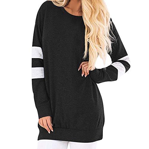 iHENGH Sweatshirt Damen,Women Herbst Winter LäSsige LangäRmeliges Sweatshirt Pullover Lange Hemd Tunika Tops Bluse Clearance Sale(Schwarz,EU-40/CN-L)