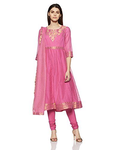 BIBA Women's Anarkali Salwar Suit (SKDSKD5205_pink_32)
