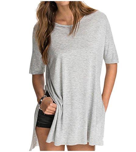 CuteRose Womens Tee Crew Neck Split Short-Sleeve Solid Color Shirt Top Grey XS