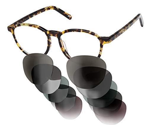 Sym Sonnenbrille mit wählbarer Sehstärke von -4.00 (kurzsichtig) bis +4.00 (weitsichtig) und auswechselbaren Gläser in 6 Farben, für Damen, Modell 01