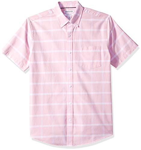 Amazon Essentials Regular-fit Short-Sleeve Windowpane Pocket Casual Shirt