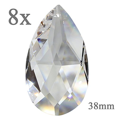 Kristall Tropfen 38mm 8 Stück Sonnenfänger Rautenwachtel Regenbogenkristall Feng Shui Waldorf Fensterdeko 30% Bleikristall Kristallglas