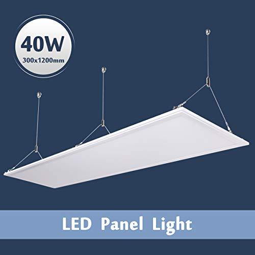 flur deckenleuchte LED Panel Wandleuchte 120X30 Ultraslim Modern Deckenleuchte Schlafzimmer Küche Flur Wohnzimmer Lampe mit Befestigungsmaterial und Trafo (40W Silberrahmen Neutralweiß)