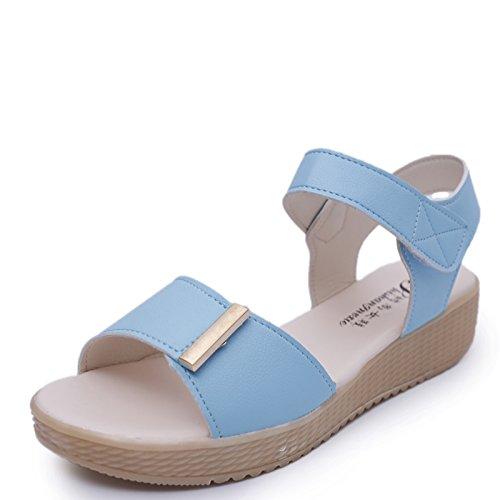 XY&GK Donna Sandali sandali estivi ragazze con le suole spesse scarpe semplice studente sandali scarpe comode All-Match marea piatta Blue