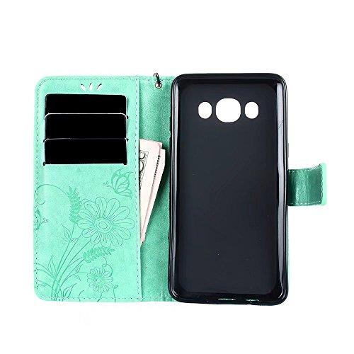Horizontale Bookstyle Flip Case Premium PU Ledertasche, Solid Color Embossed Blumen Schutzhülle Tasche Tasche mit Lanyard & Stand für Samsung Galaxy J510 ( Color : Rose gold ) Green
