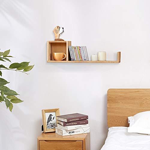 INMAN Wandregal, Eichenholz, Würfel, Bücherregal, kreatives Gitter, schwebendes CD-Rack, Foto-Display, Heimwand-Organizer Left Eiche -
