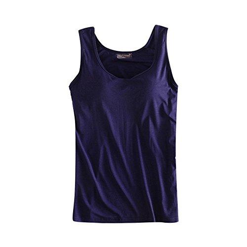 Wenyujh Damen Frauen Klassisch Tank Top Sport T-Shirt Integrierter BH Sportoberteil Komfort für Laufen (M, Hautfarbe) (EU 40-42/Herstellergröße XXL, Navy Blau) Bh Top Tank