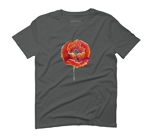 Poppy flower Men's Graphic T-Shirt - Design By Humans Anthracite