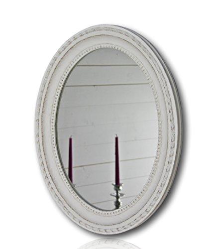 elbmöbel Wandspiegel oval in weiß antik mit Patina 37 x 47cm | Spiegel barock aus Holz | im Landhausstil als Badspiegel | Schminkspiegel bzw. Frisierspiegel für das Landhaus